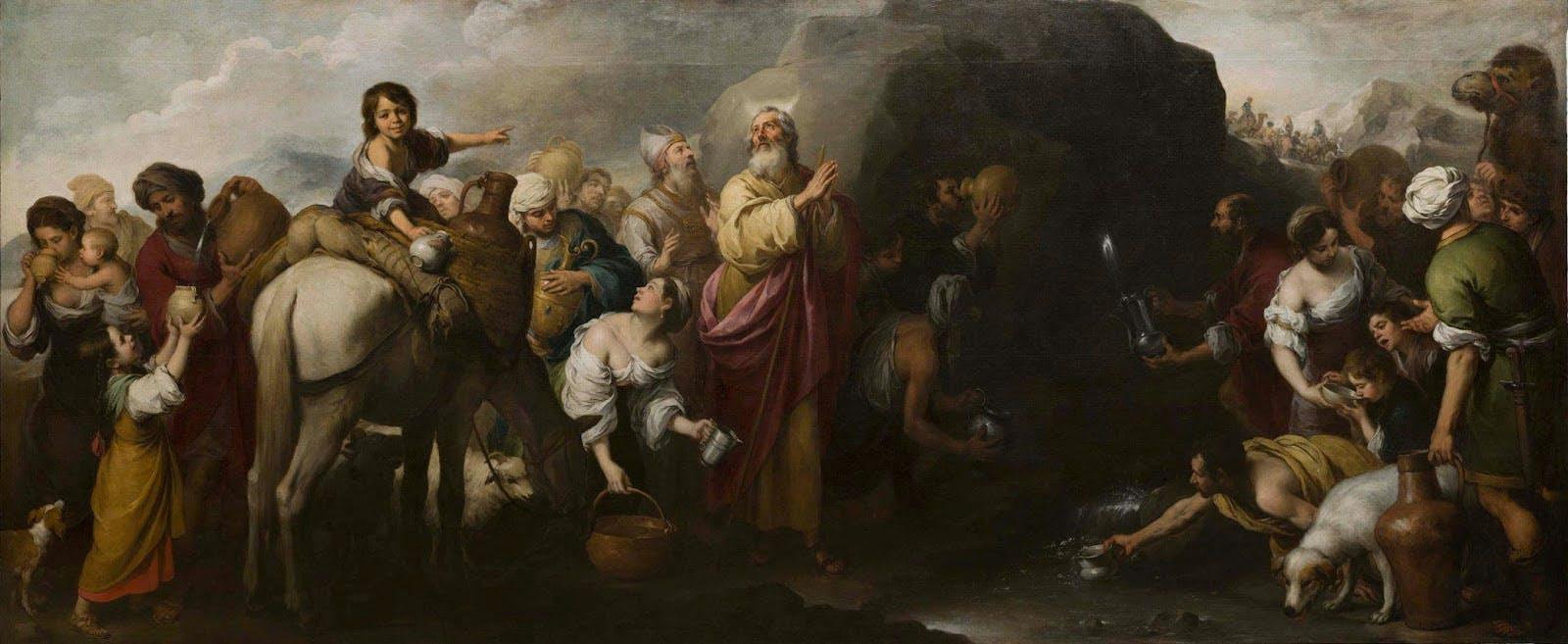 Moses Striking the Rock (1670–74), Bartolomé Esteban Murillo. Hospital de la Caridad