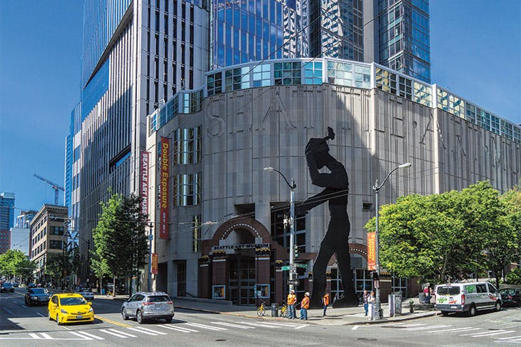Seattle Art Museum, with Hammering Man (1991) by Jonathan Borofsky at its entrance.