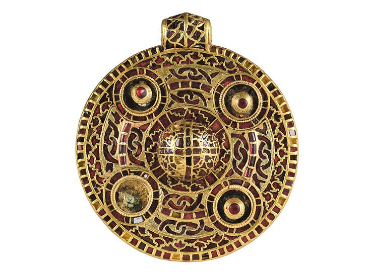 Pendant (first half 7th century), probably East Anglia or Kent, excavated at Winfarthing, Norfolk. Norwich Castle Museum