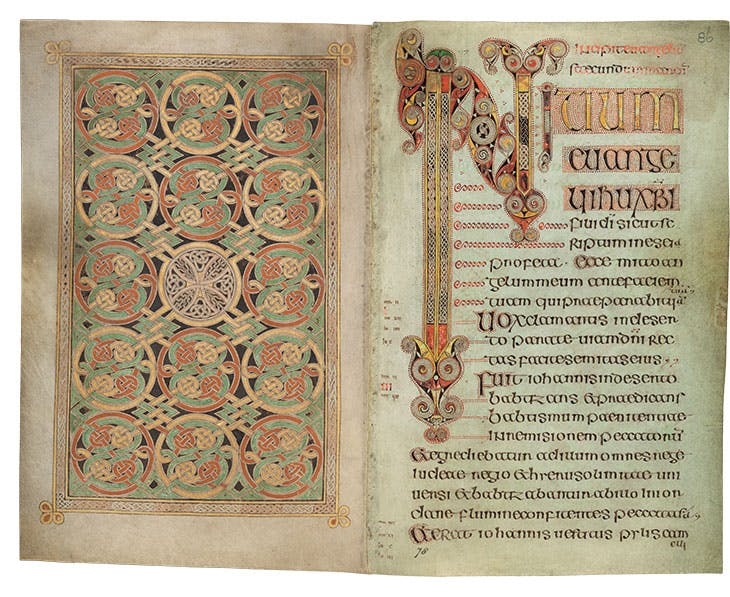 The Book of Durrow (ff. 85v–86r), c. 700, probably Durrow, Co. Offaly, or Iona, vellum, 24.5 × 14.5cm. Trinity College Dublin