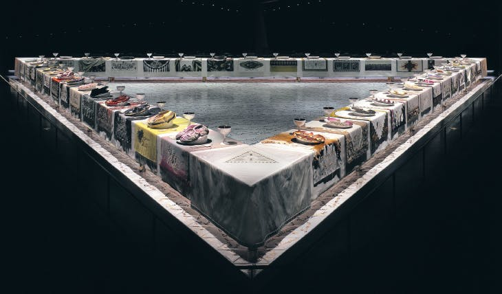 The Dinner Party (1974-79), Judy Chicago, Brooklyn Museum of Art, New York.