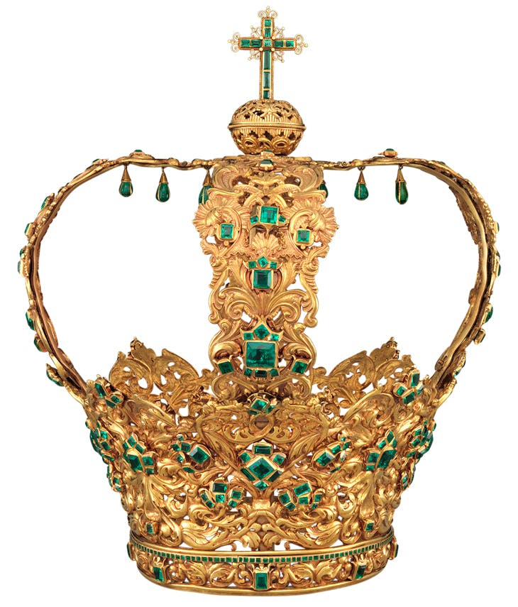 Crown of the Virgin of the Immaculate Conception, known as the Crown of the Andes (diadem: c. 1660; arches: c. 1770), Colombian. Metropolitan Museum of Art, New York