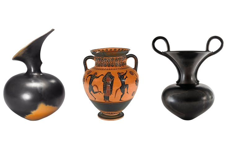 Left: Untitled, 1988, Magdalene Odundo. Middle: Black figure neck amphora with Ariadne dancing with satyrs, 550-540BC. Fitzwilliam Museum, Cambridge. Right: Untitled, 1989, Magdalene Odundo.