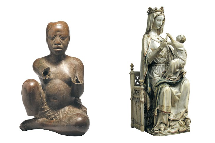 Left: Seated figure (late 13th–14th century), possibly Ife, Tada, Nigeria. Right: Virgin and Child (c. 1275–1300), France.