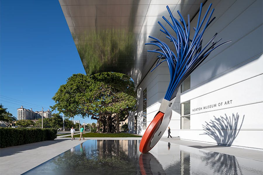 Typewriter Eraser, Scale X (1999) by Claes Oldenburg and Coosje Van Bruggen, installed at the Norton Museum of Art, West Palm Beach.