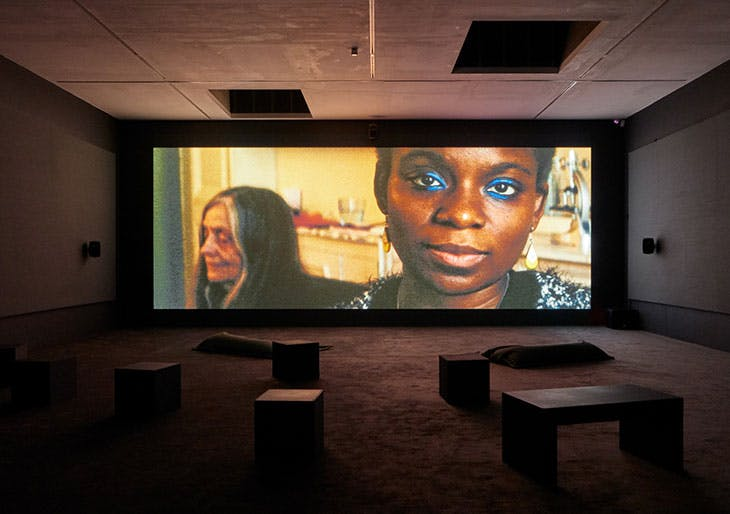 Installation view of Deux Soeurs Qui Ne Sont Pas Soeurs (Two Sisters who Are Not Sisters) in 'Beatrice Gibson: Crone Music' at Camden Arts Centre, 2019.