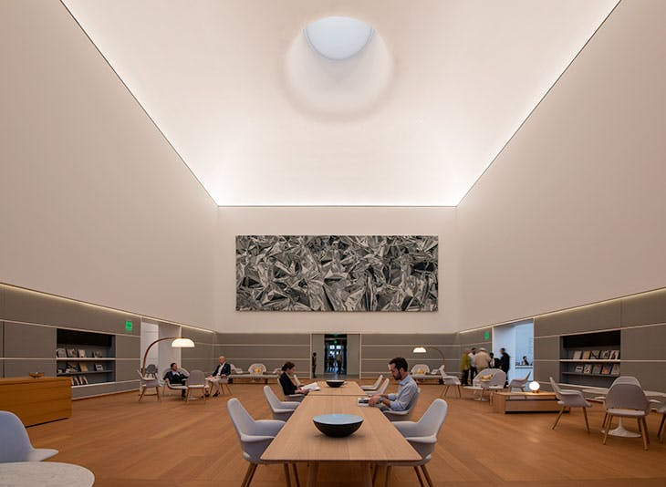 The Norton Museum of Art's Ruth and Carl Shapiro Great Hall, designed by Foster + Partners. Hanging on the wall is Eikón (2019) by Pae White.