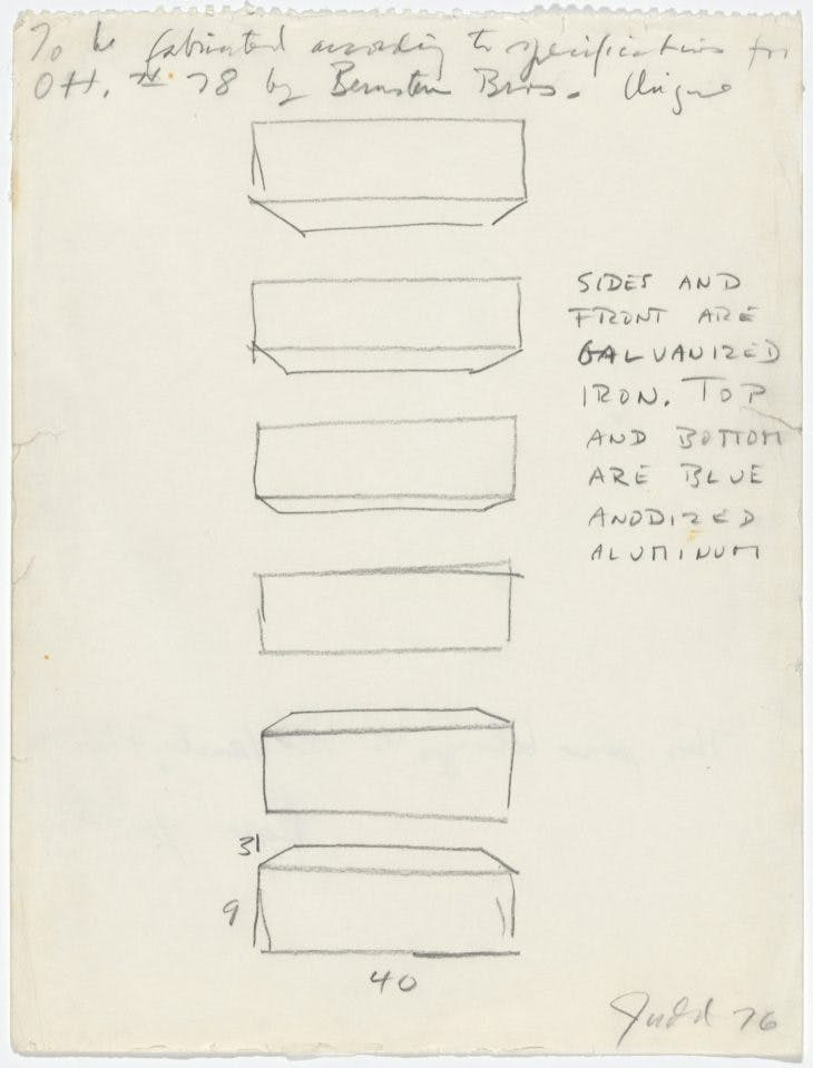 Instruction Drawing for Otterlo Show Wall Sculpture, Donald Judd