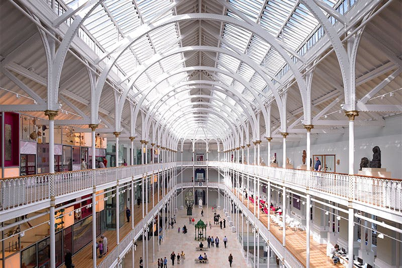 View of the Grand Gallery at the National Museum of Scotland.