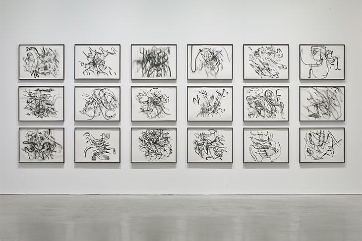 Installation view of 'Julie Mehretu Drawings and Monotypes' at Kettle's Yard, Cambridge, 2019.