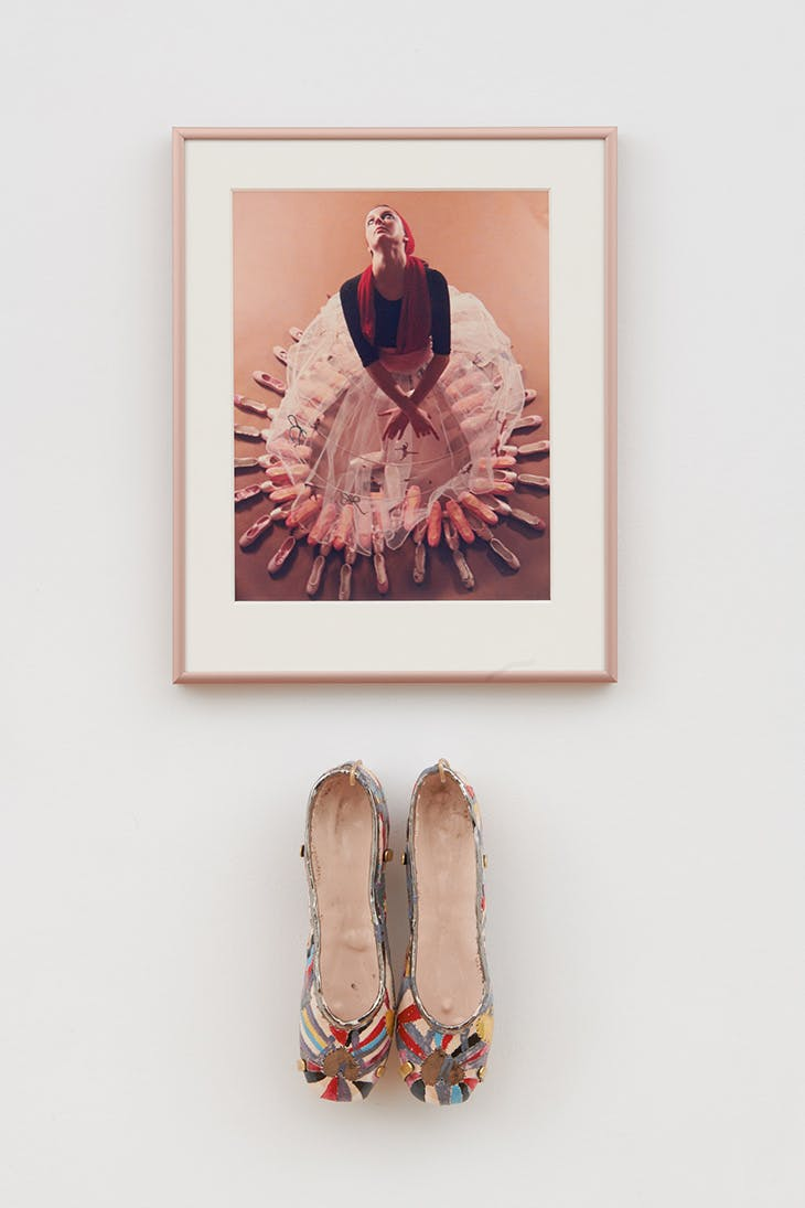 Study for a Divertissement: Diana with crinoline and pointe shoes II (1973), Rose English. Installation view of 'Rose English: Form, Feminisms, Femininities' at Richard Saltoun Gallery, London, 2019.