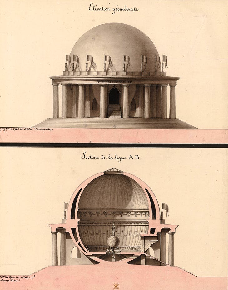 Elevation and Section of a Temple for Equality in the Garden of Philosophy, Lequeu