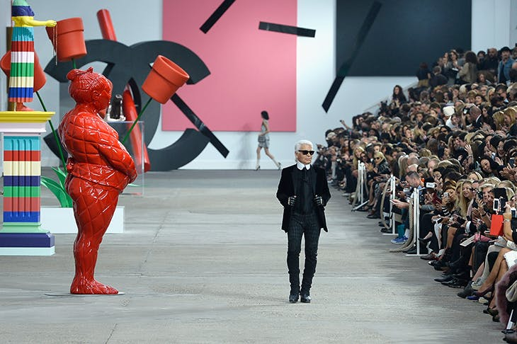 Karl Lagerfeld at the Chanel show during Paris Fashion Week, 2014.