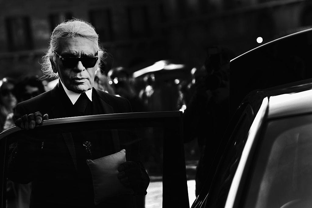 Karl Lagerfeld photographed at the Palazzo Vecchio in 2015.