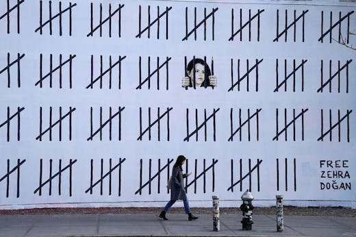A Banksy mural unveiled in New York in March 2018 to raise awareness of the imprisonment of Zehra Doğan.