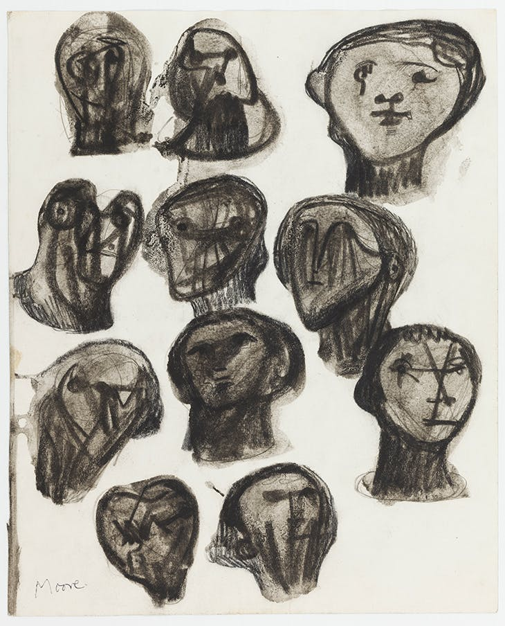 Ideas for Sculpture: Heads (1958), Henry Moore.