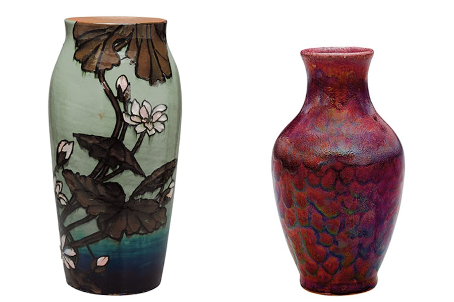 Left: Vase (1884), decorated by Laura A. Fry, Rookwood Pottery. The Metropolitan Museum of Art, New York. Right: Vase (c. 1885–89), Hugh C. Robertson, Chelsea Keramic Art Works. The Metropolitan Museum of Art, New York
