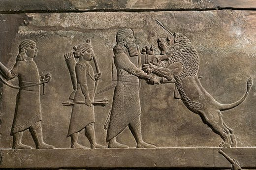 The Royal Lion Hunt (detail), 645–640 BC, from the North Palace, Nineveh, Iraq. British Museum, London, Photo: © The Trustees of the British Museum