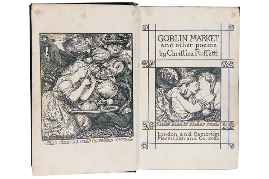 Frontispiece and title page to Christina Rossetti, 'Goblin Market and Other Poems (1863), after Dante Gabriel Rossetti.