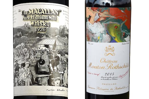 The Macallan 60-year-old 1926 single malt up for sale at Bonhams in March (right); Gerhard Richter's label for the 2015 vintage of Chateau Mouton Rothschild