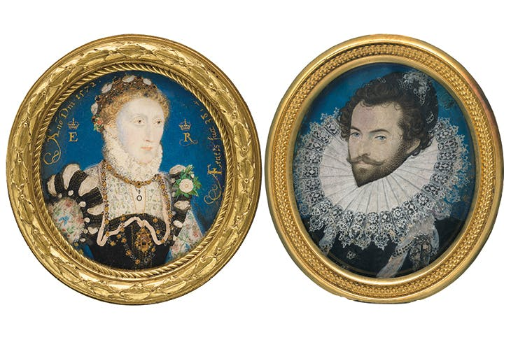 Elizabeth I (1572), and Sir Walter Ralegh (c. 1585), Nicholas Hilliard.