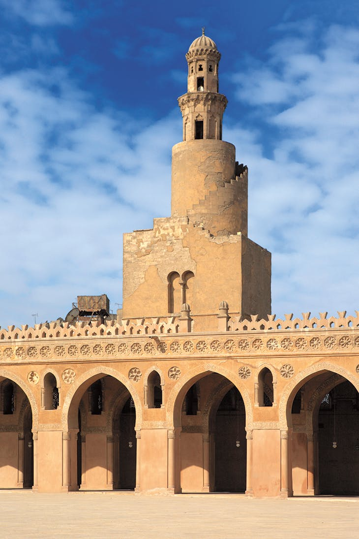 The design for the spiralling minaret of the mosque is said to have been conceived by Ibn Tulun himself.