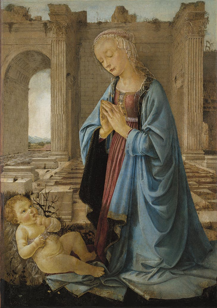 The Virgin Adoring the Christ Child ('The Ruskin Madonna') (c. 1470–75), attributed to Andrea del Verrocchio. National Galleries Scotland