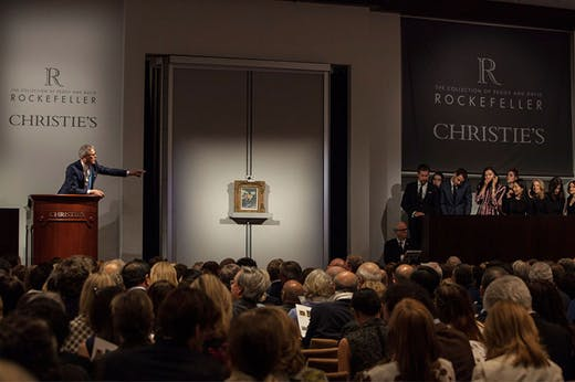 A saleroom in New York during the sales of the Collection of Peggy and David Rockefeller.