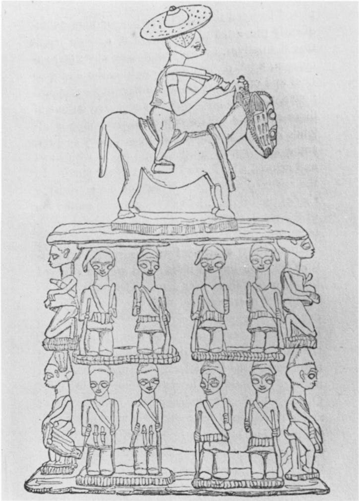 Illustration of the stool presented to Lander at Kaiama from the 1833 edition of the Journal of Richard and John Lander