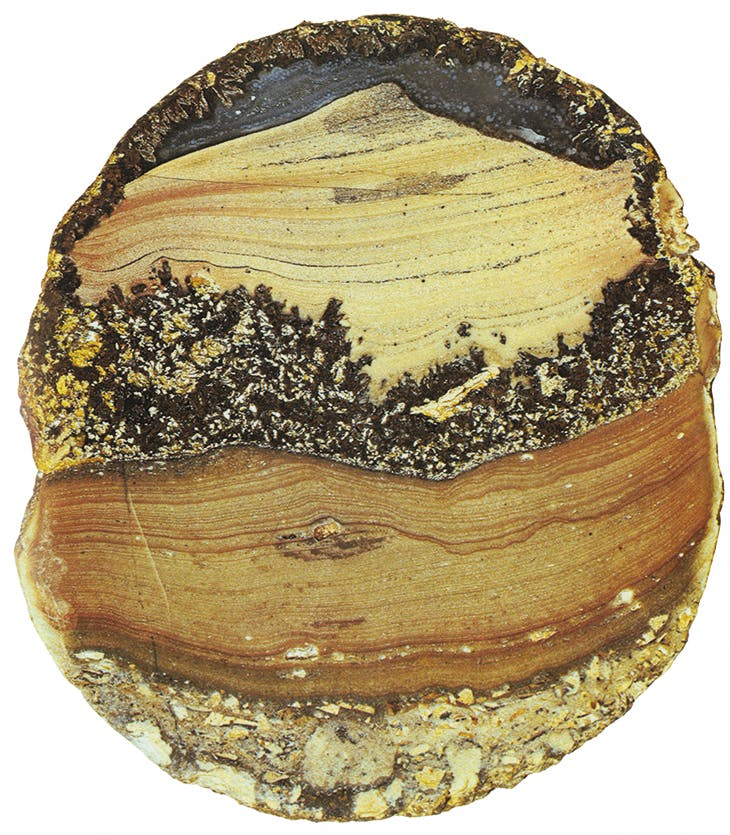 Landscape agate ('Peak') from Mexico, from the collection of Roger Caillois. First published in Caillois's book 'L'écriture des pierres'.