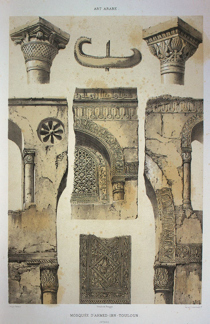 The minaret's original boat-shaped finial (top, centre) can be seen in this drawing from L'Art arabe (1869–77) by Émile Prisse d'Avennes.