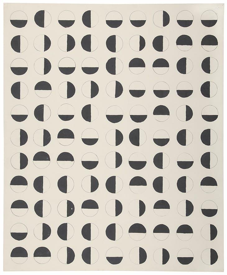 Rasterbild (Semi-Circles) (1957), Charlotte Posenenske.