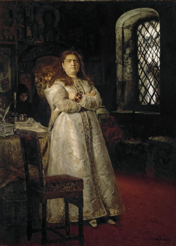 Princess Sofia Alexeyevna a Year after her Incarceration in the Novodevichy Convent during the Execution of the Streltsys and the Torturing of All Her Servants in 1698, Repin