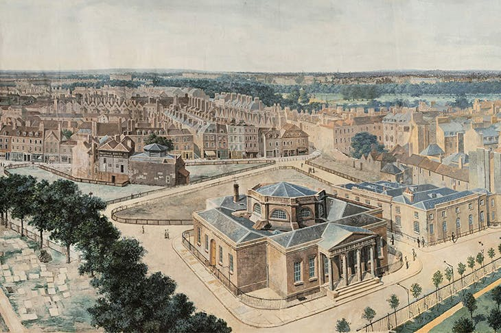 A panoramic view of London, from the tower of St. Margaret's Church, Westminster (detail; c. 1815), Pierre Prévost. Museum of London