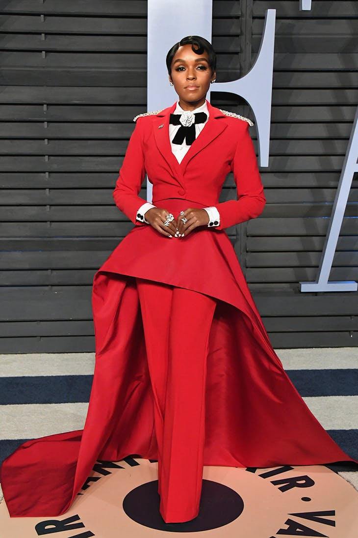 Janelle Monae in Christian Siriano at the 2018 Vanity Fair Oscar Party.