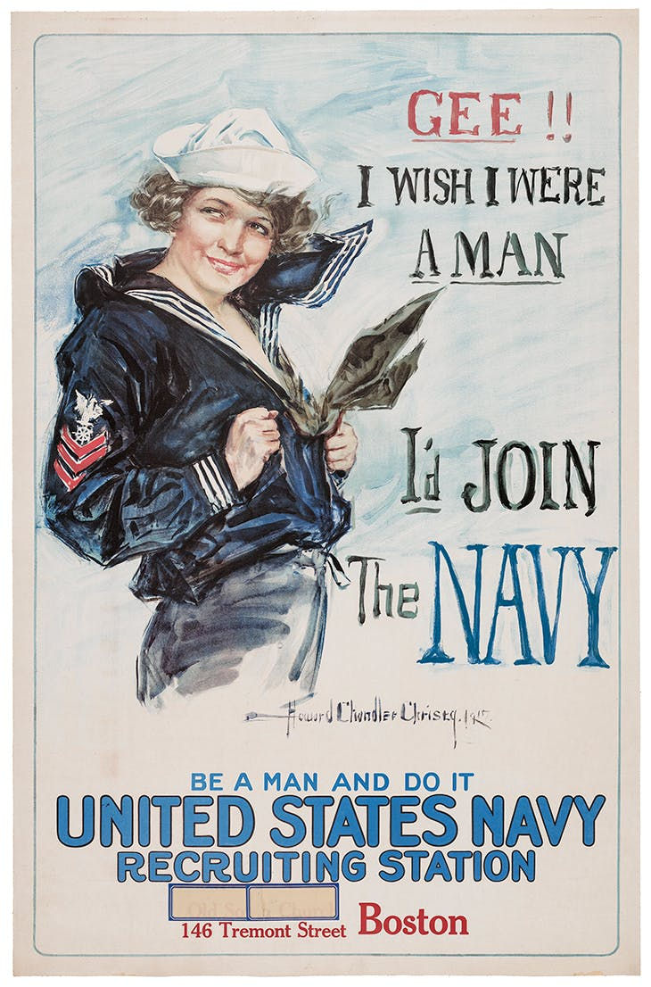 Gee!! I Wish I Were a Man-I'd Join the Navy (c. 1917-1918), Howard Chandler Christy.