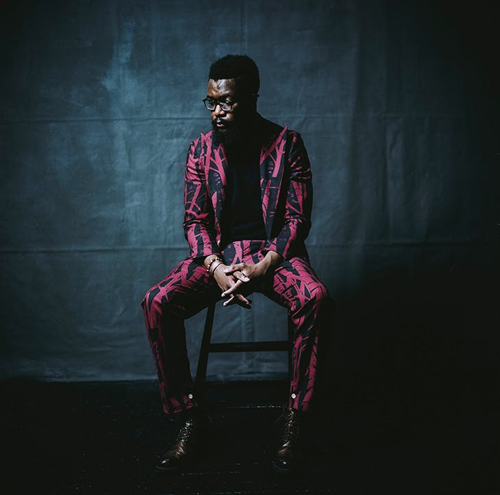 Suit from the 'Born Between Borders' collection, Spring/Summer 2014, designed for Ikiré Jones by Walé Oyéjidé Esq.