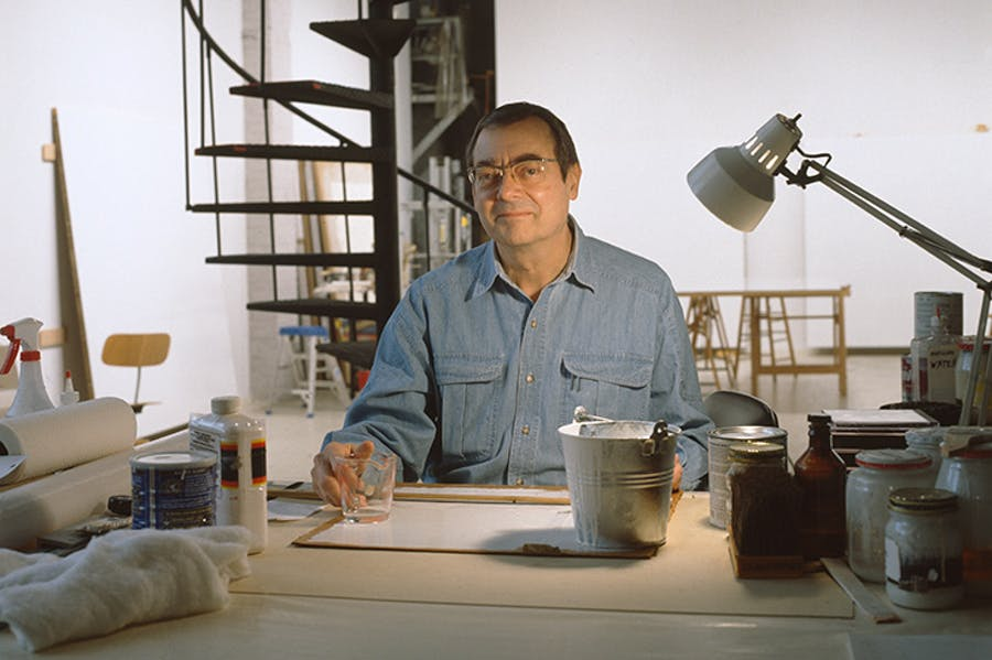 Robert Ryman in his studio in New York in 1999.