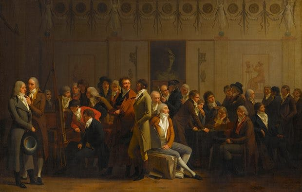 The Meeting of Artists in Isabey's Studio, (1798), Louis-Léopold Boilly. Musée du Louvre, Paris