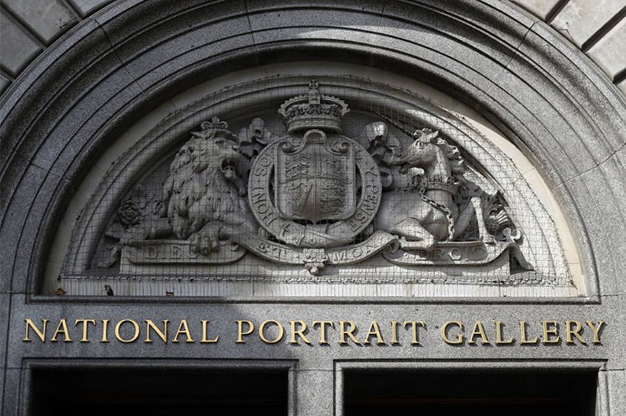 The entrance to the National Portrait Gallery, London in summer 2018.