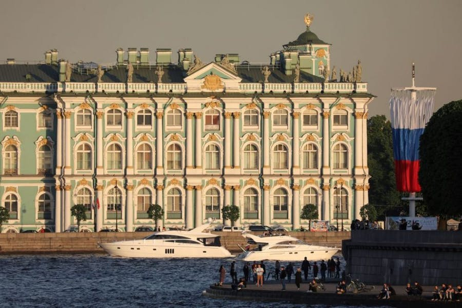 Winter Palace building housing the State Hermitage Museum in St Petersburg.