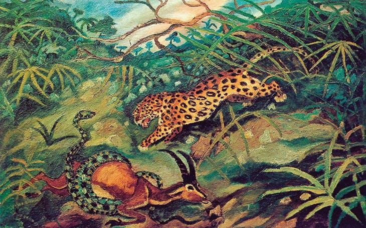 Jaguar with gazelle and snake (c. 1948), Antonio Ligabue.