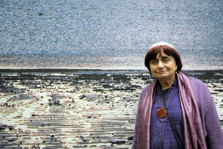 Agnes Varda in front of 'La Grand Mer', one of her works on display at the Vitry-sur-Seine museum outside Paris, in 2010, photo: © MIGUEL MEDINA/AFP/Getty Images