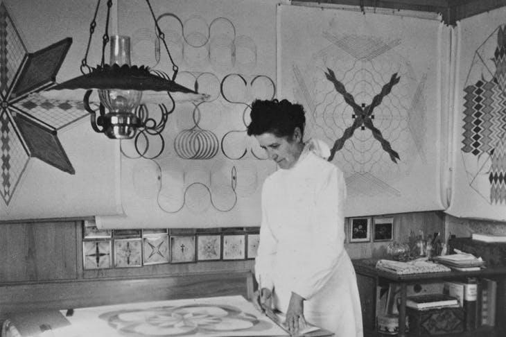 Emma Kunz at her working table, Waldstatt, 1958.