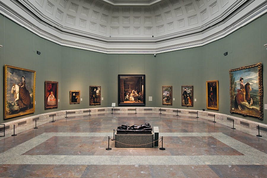 Portraits by Velázquez flanking Las Meninas (1656) in Room 12 of the museum, rehung in 2010