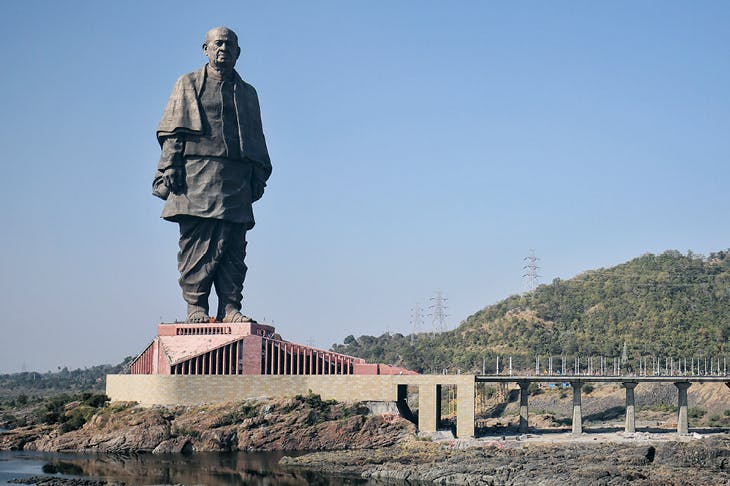 The Statue of Unity portraying Vallabhbhai Patel, unveiled in Gujarat, India, in October 2018.