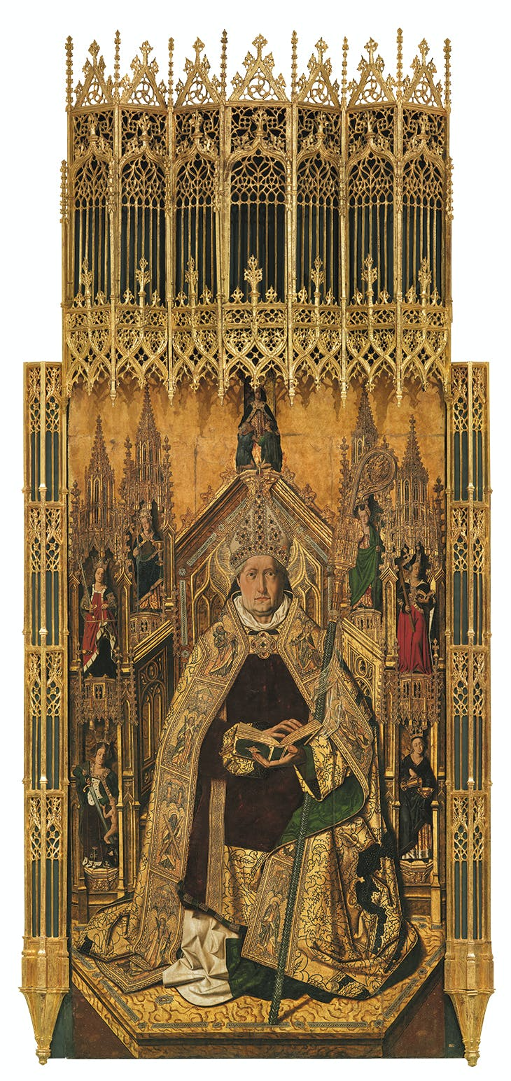 Saint Dominic of Silos enthroned as a Bishop (1474–79), Bartolomé Bermejo. Museo Nacional del Prado, Madrid