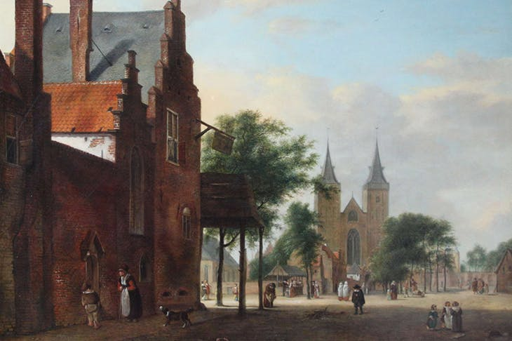 View of a Dutch Square (detail; c. 1700), Jan van der Heyden.
