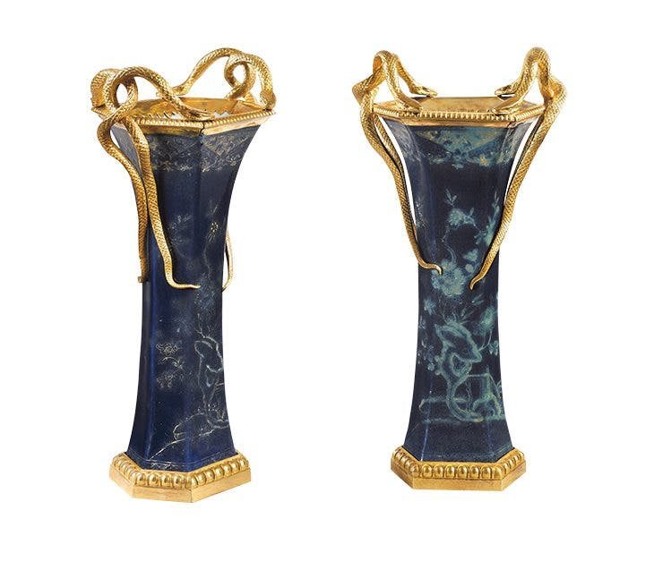 Pair of Louis XVI beaker vases (second half of the 18th century), France.