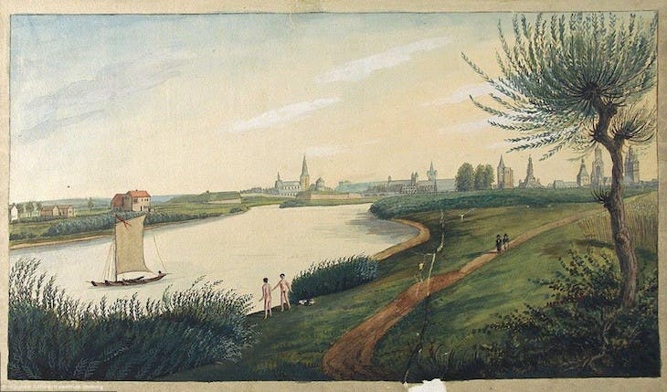 View of Maas and Maastricht from the north, Van Gulpen